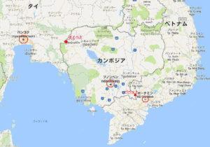 カンボジアのカジノ地図